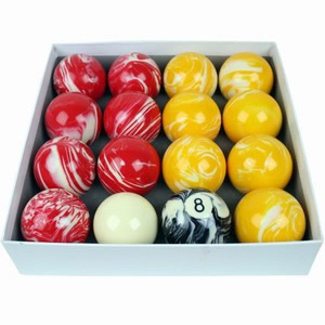 Pool Balls Red & Yellow Marbleised 2 Inch UK
