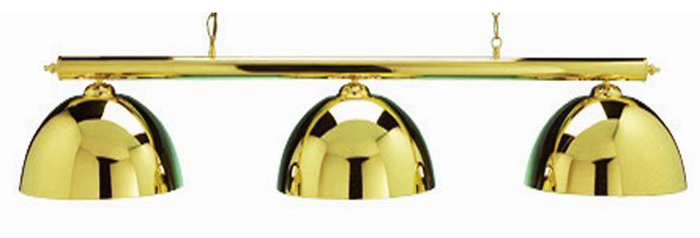 Pool Table Lighting Set Brass Bar & 3 Shades