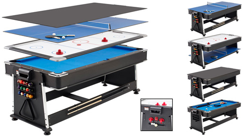 7ft REVOLVER 3 In 1 Pool / Air Hockey / Table Tennis Game