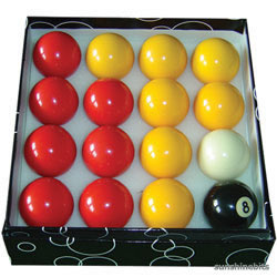 Pool Table Balls Red & Yellow UK Ball Set