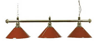 Pool Table Lights Brass Canopy Bar 3 Red Shades