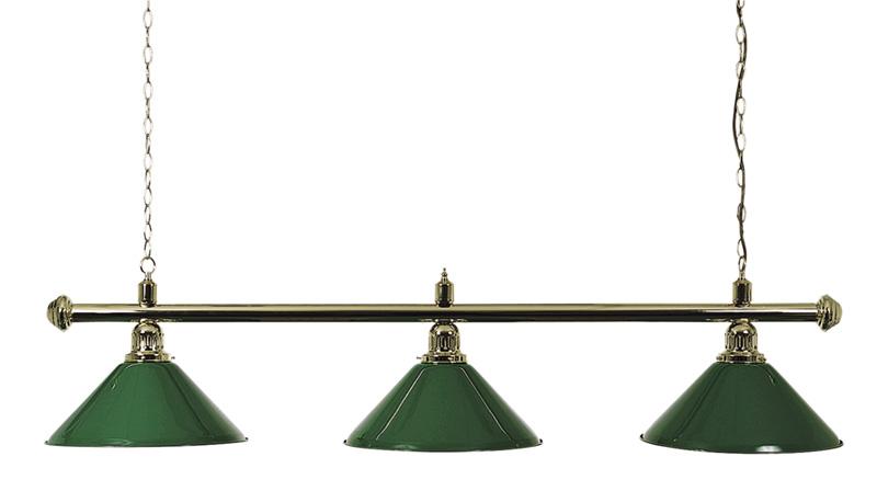 Pool Table Lighting Brass Bar & Green Shades