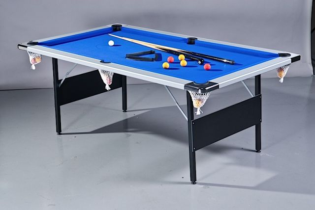 7ft Deluxe Folding Leg Pool Table in Silver and Blue