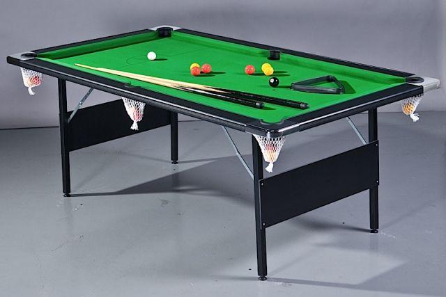 Folding Leg 7ft Black and Green Pool Table